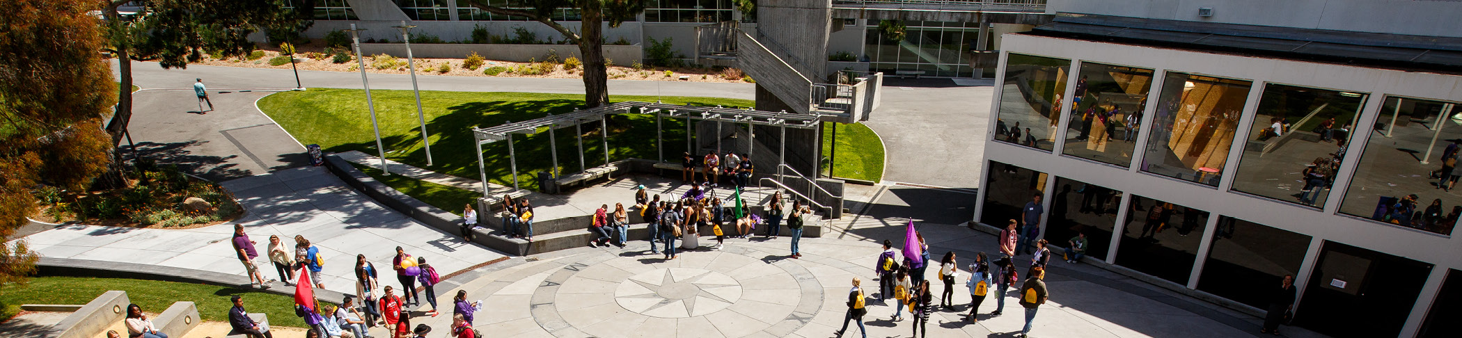 View of San Francisco State's Quad with students