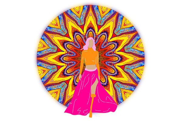 Illustration of woman walking in front of a kaleidoscope background